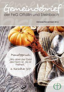 Gemeindebrief für den Oktober-November 2016